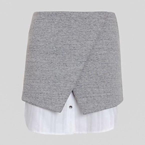544b18044 INTERMIX Skirts | Gray Double Layer Asymmetric Skirt Md Euc | Poshmark